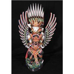 Thai Birdman Statue Hand Painted Sculpture Thailand.