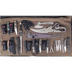 20 PC KNIFE COLLECTION w/KNIVES, SWORDS & KNIFE CHAINS