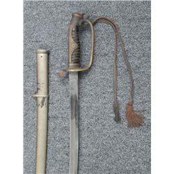 Antique WWII Japanese Company Grade Sword, Flower Motif