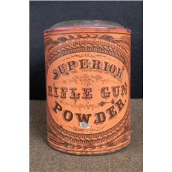 Antique Civil War Superior Rifle Gun Powder Metal Can