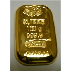 PAMP Credit Suisse 100 Gr (3.22 Oz) Gold Bar -Unsealed-With Certificate of Authenticity.