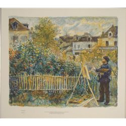 Monet Painting in the Gardens Renoir Art Print 1st Ed