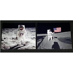 2 Photos Man on Moon Walk Apollo Aldrin, Shepard