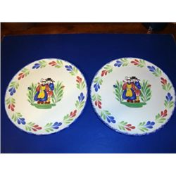 Pair of French faience plates made by Pornic