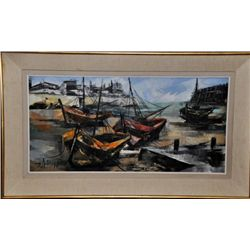 Jean Amiot (b. 1920) BOATS France o/c. Signed