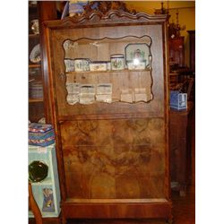 French burled walnut curio cabinet circa 1860