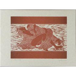 Jack Woodcut Art Print Proof Japanese Erotic Figures