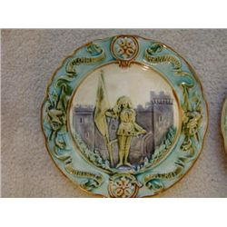 Old French green majolica plates Joan of Arc