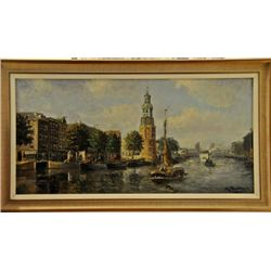 Amsterdam canal oil on canvas signed mid.20th century.