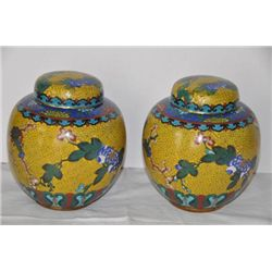 Pair yellow cloisonne covered vases. Late Ching China.