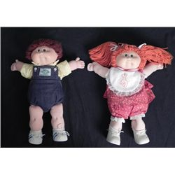 2 Vintag Cabage Patch Kids Girl, Boy Redhead Brown 1982
