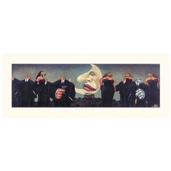 Markus Pierson 'Black Tie Blue Coyote' Serigraph