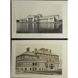 2 Antique Prints Chicago Worlds Fair Fine Arts, Loomis