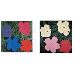 2 Different Andy Warhol Art Prints: Flowers II & III