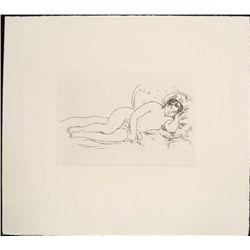 Renoir Etching Art Print - Reclining Nude