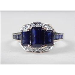 14K Yellow Gold Blue Sapphire Ring-3 Emerald Cut Stones