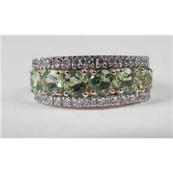 14K Yellow Gold Pear Diamond Ring -6 Round Green Stones