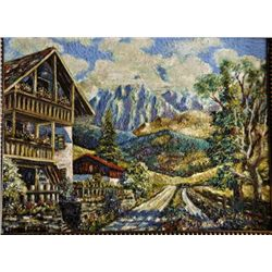 Contemporary Alpine landscape oil on board signed.