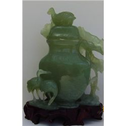 Antique Asian green stone possibly jade vase with cover