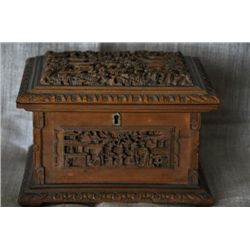 Asian Antique heavily carved jewelry box. Boxwood