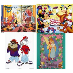 4 Animation Prints Mickey Mouse, Bugs Bunny, Thumbelina