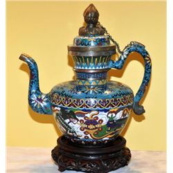 Chinese early Republic Cloisonne large Kettle/Vessel