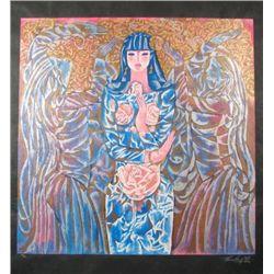 Zhou Ling GODDESS OF THE ROSES Yunnan Rice Art Print