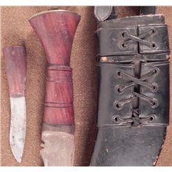 GENUINE MILITARY KUKRI W/ STRAPPED SCABBARD & UT KNIFE