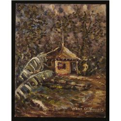 Oliver Francis Original Painting African Jamaican Hut