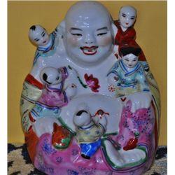 Republic period porcelain Buddha with Children China.