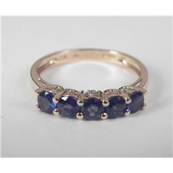 14K Y Gold Blue Sapphire Ring Band of 5 Round Stones