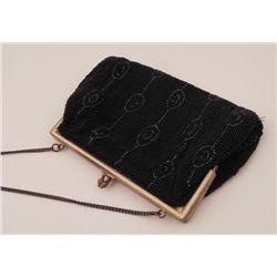 Belgian Black Beaded Vintage Purse Handbag