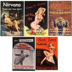 5 Repro Rock Posters- Metallica Nirvana Led Zepplin