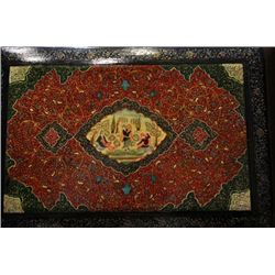 19th century Persian wooden book cover handpainted