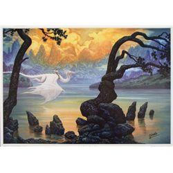 Fantasy Lake Ciruelo Signed Art Print Magical Dragons