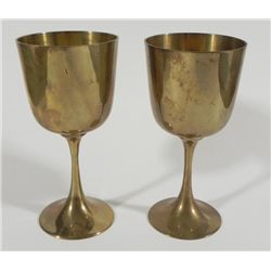 "VINTAGE PAIR OF BRASS GOBLETS- 5 1/2"" TALL"