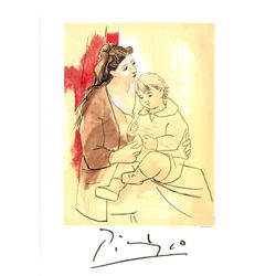 Pablo Picasso Mother and Child Lithograph Art