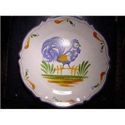 French hand painted faience plate signed Renoleau