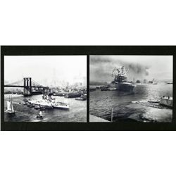 2 Photos - WWII Ships, Pearl Harbor, Manhattan