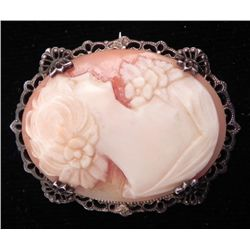 Vintage Cameo Carved Coral Brooch Sterling Pin
