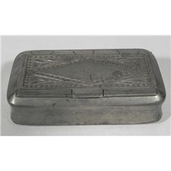 Antique Pewter Make-Up Box Container w/ Hidden Mirror