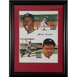Hank Aaron 755 Signed Print w/ Babe Ruth Hirsh -Framed