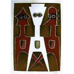Ephrem Kouakou: Untitled XIV (White & 2 Red Figures)