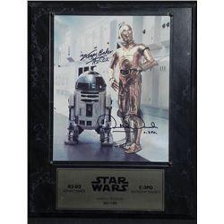 Star Wars Signed Kenny Baker Anthony Daniels Photo Plaq