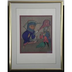 Mihail Chemiakin Signed Print Blue General -Framed