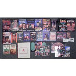 Star Trek Fiction Book & Audio Lot + Manual,Uncut Cards