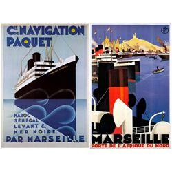 2 Ship Posters Marseille, Navigation -Broders, Ponty