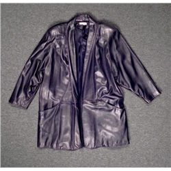 Ann Taylor Long Black Leather Coat Size L
