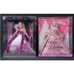 2 Barbie Happy Holidays Dolls-MIB Bob Mackie 2005, 2009