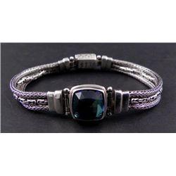 Sterling Silver 925 Aquamarine Gemstone Bracelet